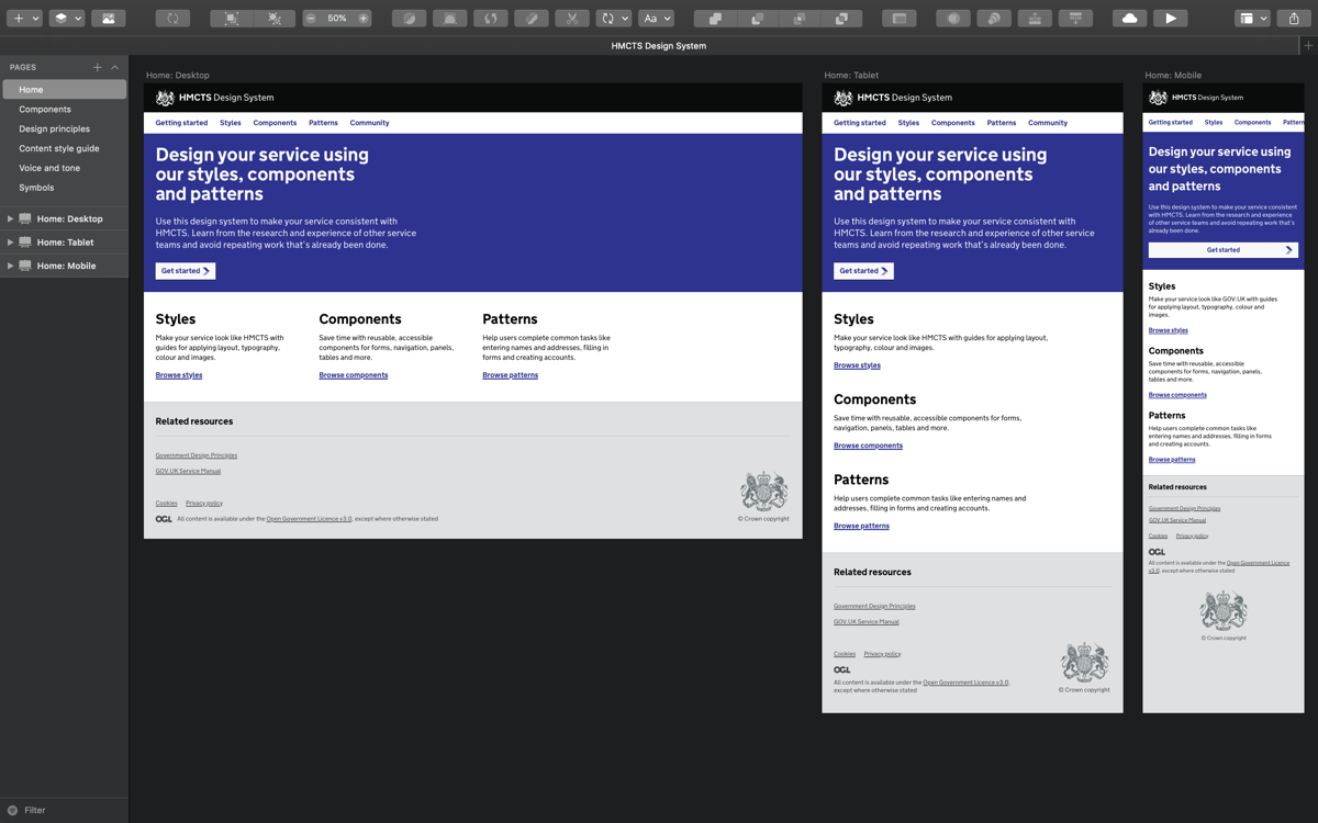 HMCTS Design System home page example showing desktop, tablet and mobile version of the design