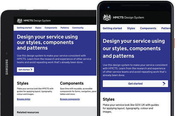 HMCTS Design System service on mobile and tablet devices