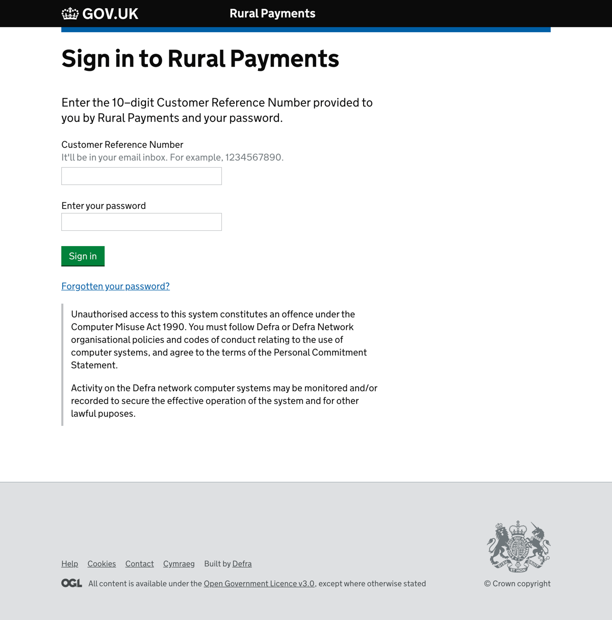 Rural Payments sign in screen